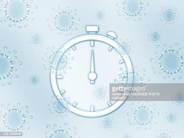 stopwatch with covid-19 viruses, illustration - safety stock illustrations