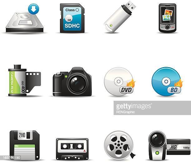 Storage & Recording Media Icon Set | Elegant Series