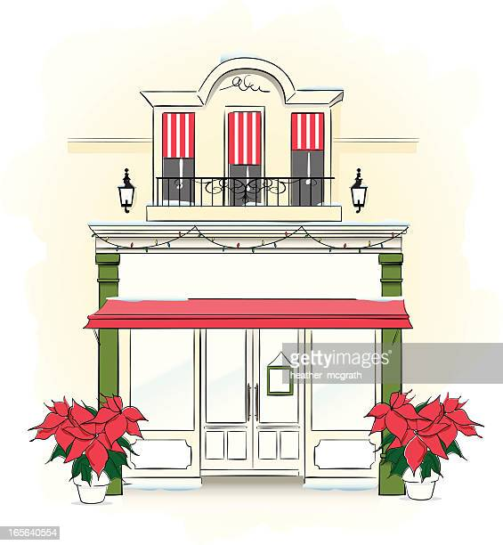 store front at christmas time - awning stock illustrations, clip art, cartoons, & icons