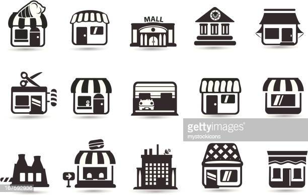 ilustrações, clipart, desenhos animados e ícones de ícones de loja - livraria