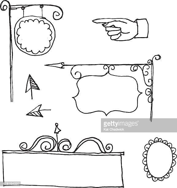 store signs and arrows - medium group of objects stock illustrations, clip art, cartoons, & icons