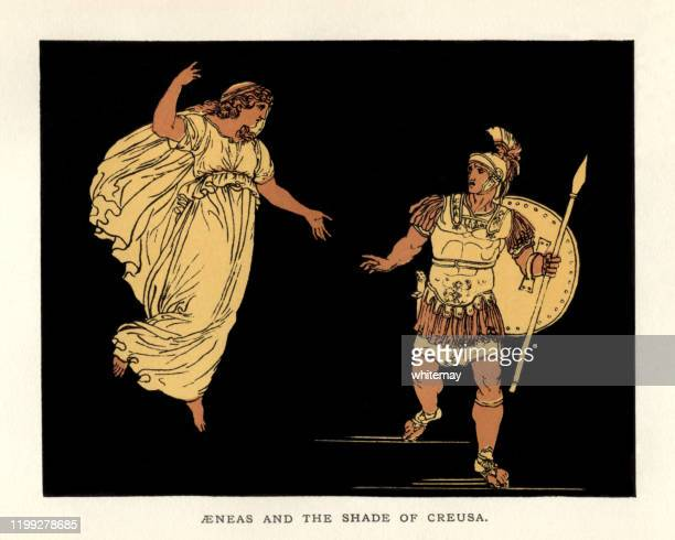 stories from virgil - aeneas and the shade of creusa - classical greek style stock illustrations