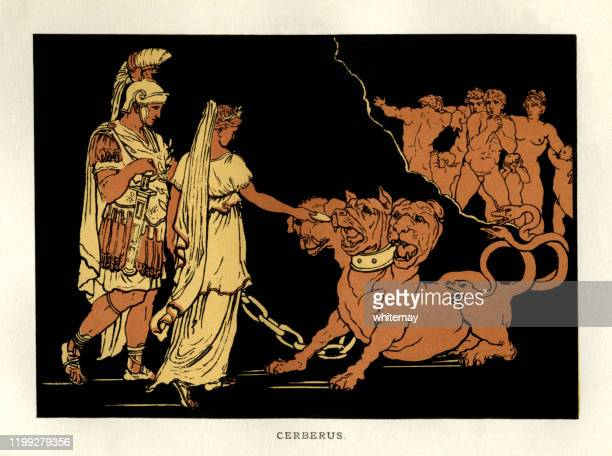 stories from virgil - cerberus - greek mythology stock illustrations