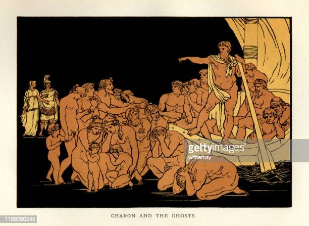 stories from virgil - charon and the ghosts - greek mythology stock illustrations