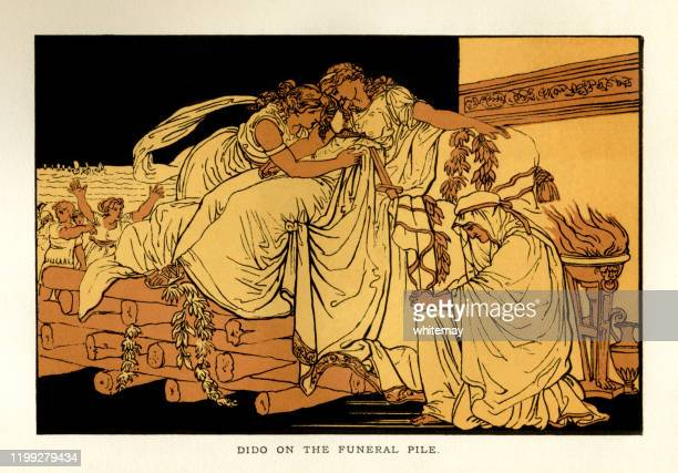 stories from virgil - dido on the funeral pyre - greek mythology stock illustrations