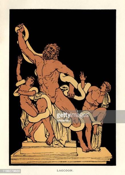 illustrazioni stock, clip art, cartoni animati e icone di tendenza di storie di virgilio - laocoon e i suoi figli attaccati dai serpenti - mitologia greca