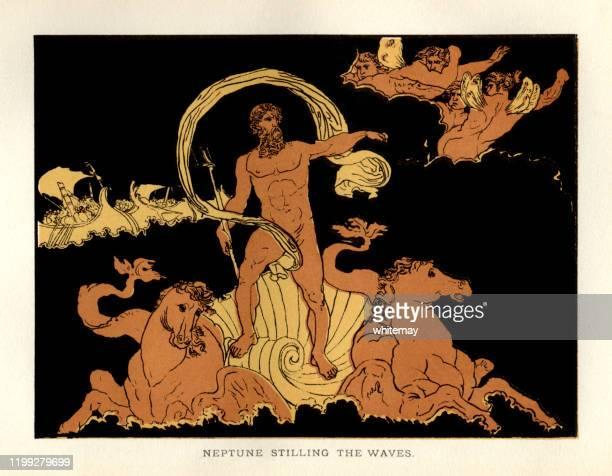 stories from virgil - neptune stilling the waves - roman god stock illustrations