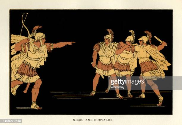 stories from virgil - nisus and euryalus - army helmet stock illustrations