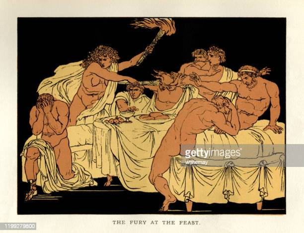 stories from virgil - the fury at the feast - ancient greece stock illustrations