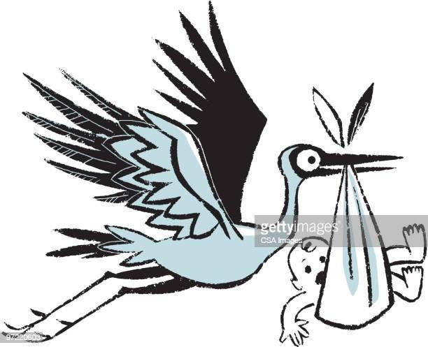 stork - baby stock illustrations