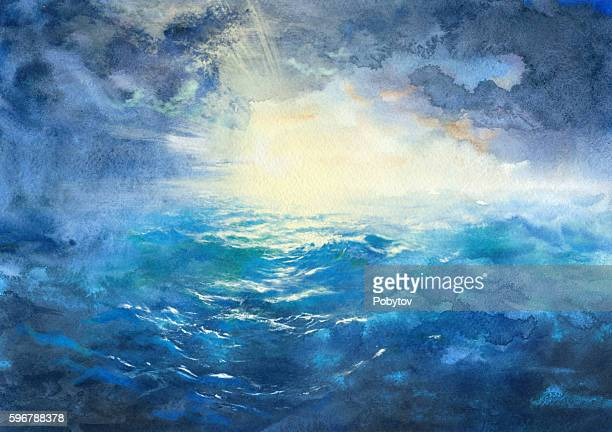 storm at sea, watercolor painting - seascape stock illustrations, clip art, cartoons, & icons