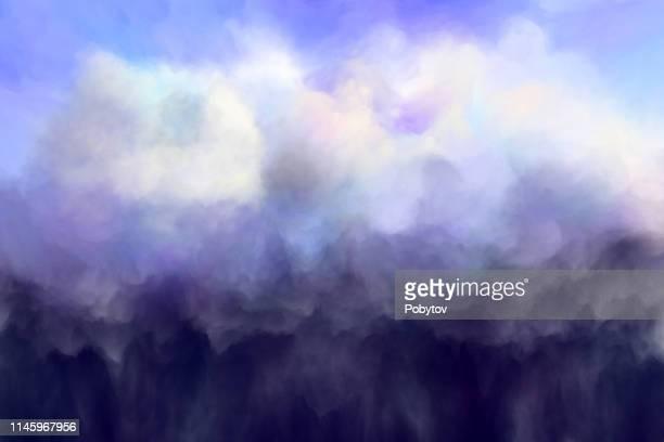 illustrazioni stock, clip art, cartoni animati e icone di tendenza di storm cloud, painting - cielo minaccioso