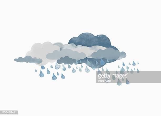 Storm clouds and rain against white background