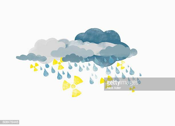 Storm clouds raining drops of water and radioactive symbols, illustration