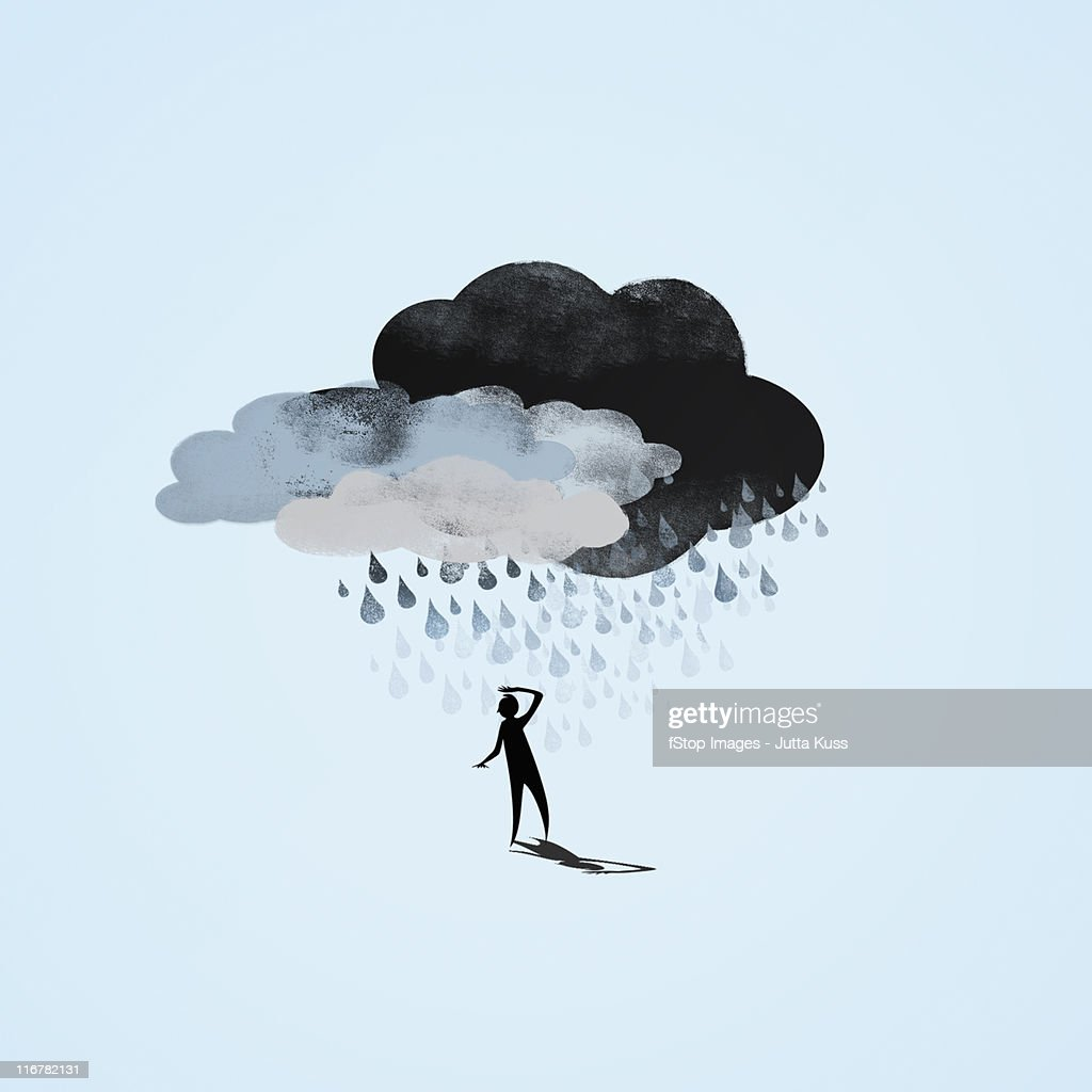 Storm clouds raining on a person : stock illustration