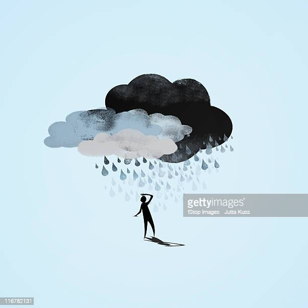 Storm clouds raining on a person