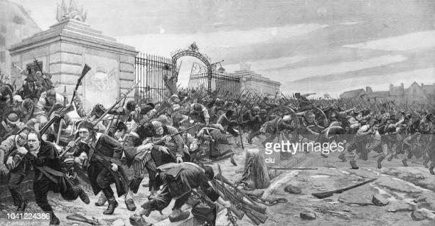 storm on the bastille on 14 july 1789 - revolution stock illustrations