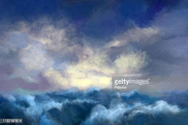 storm sea - dramatic sky stock illustrations