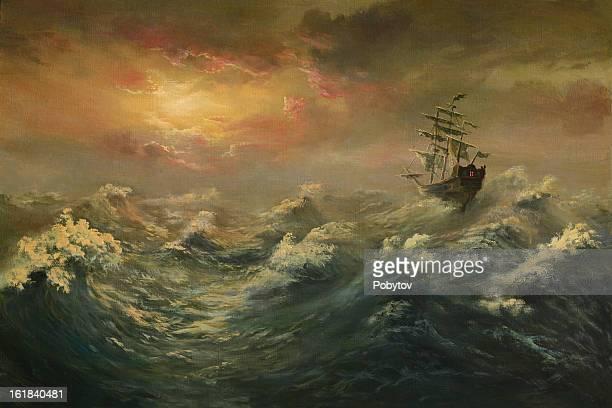 storming ocean - ship stock illustrations