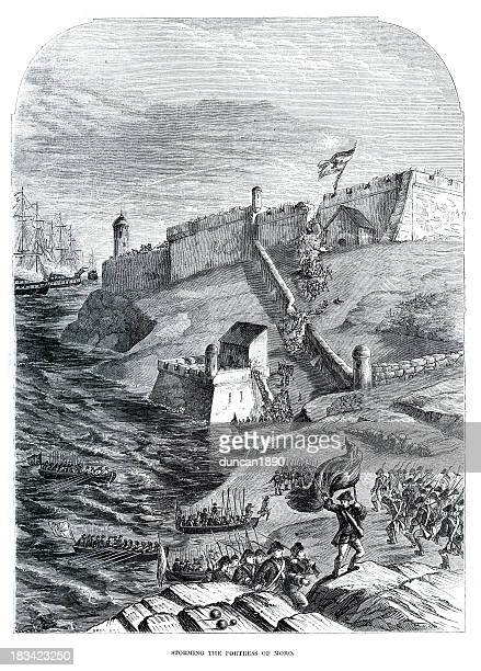 storming the fortress of moro, cuba - us marine corps stock illustrations, clip art, cartoons, & icons