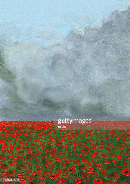 stormy clouds over poppy field - poppy stock illustrations, clip art, cartoons, & icons