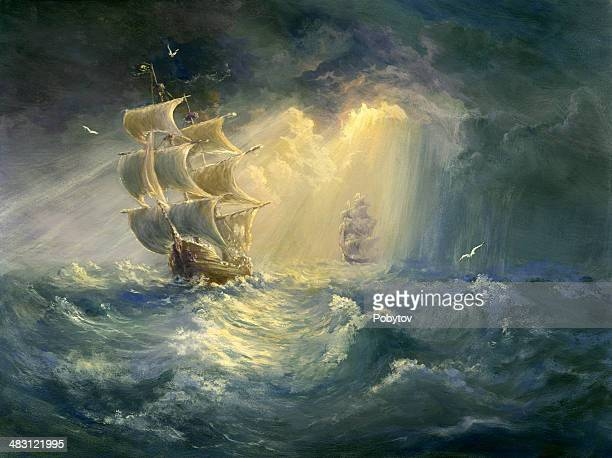 stormy sea - pirate boat stock illustrations, clip art, cartoons, & icons