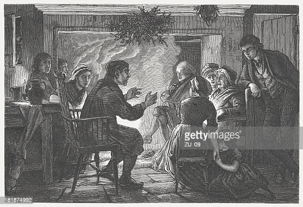 bildbanksillustrationer, clip art samt tecknat material och ikoner med storyteller in the past, wood engraving, published in 1872 - historia
