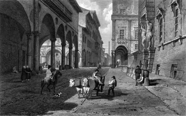 Strada Maggiore in Bologna, Italy. Original Artwork:...