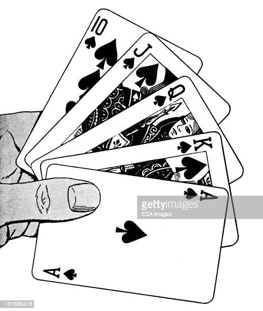 straight hand of cards - ace stock illustrations