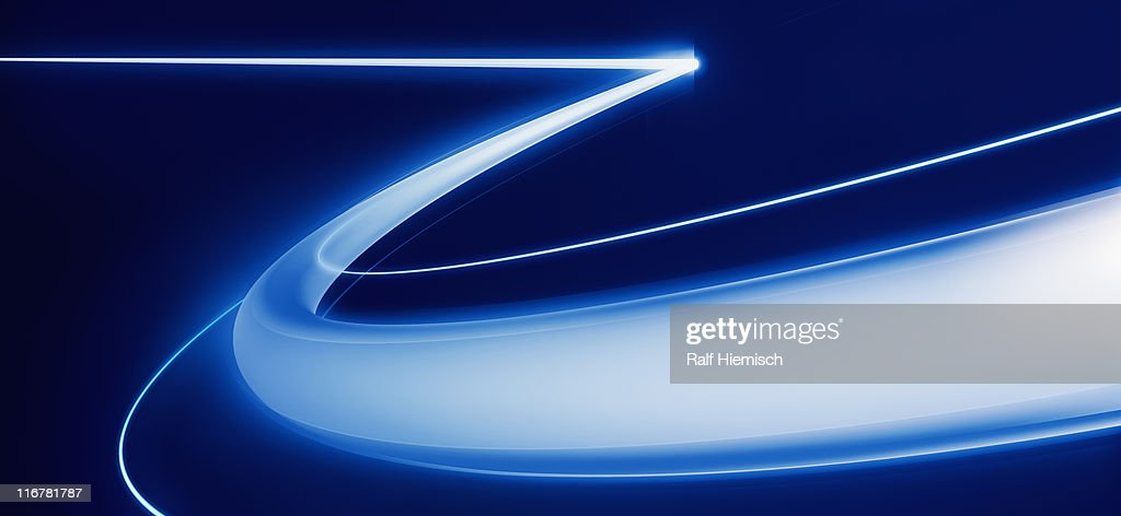 A straight line which turns into a curved line : Stock Illustration