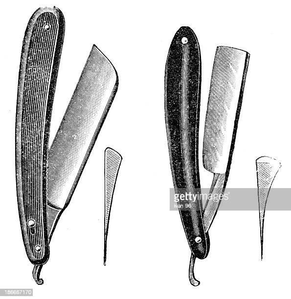 straight razor - razor blade stock illustrations, clip art, cartoons, & icons