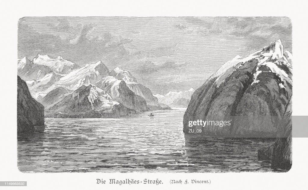 Strait of Magellan, wood engraving, published in 1897 : Illustrazione stock