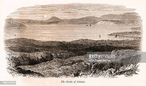 strait of salamis, greece (antique wood engraving) - classical greek style stock illustrations