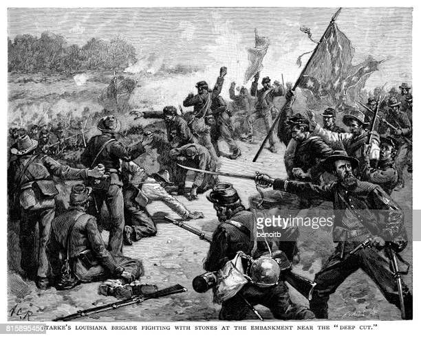 Strake's Louisiana Brigade Fighting with rocks at the embankment near the Deep Cut