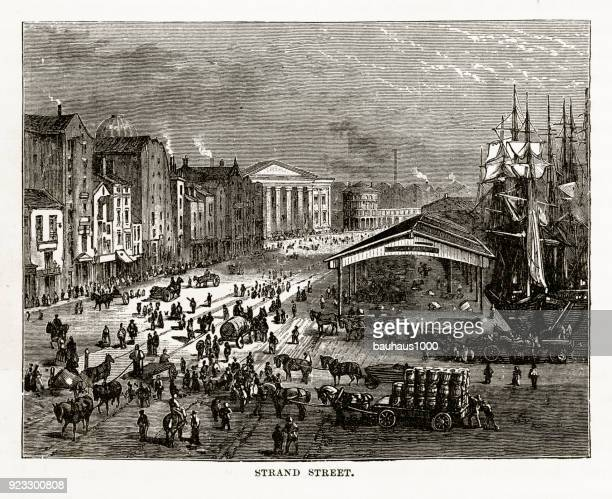 strand street in liverpool, england victorian engraving, 1840 - british culture stock illustrations