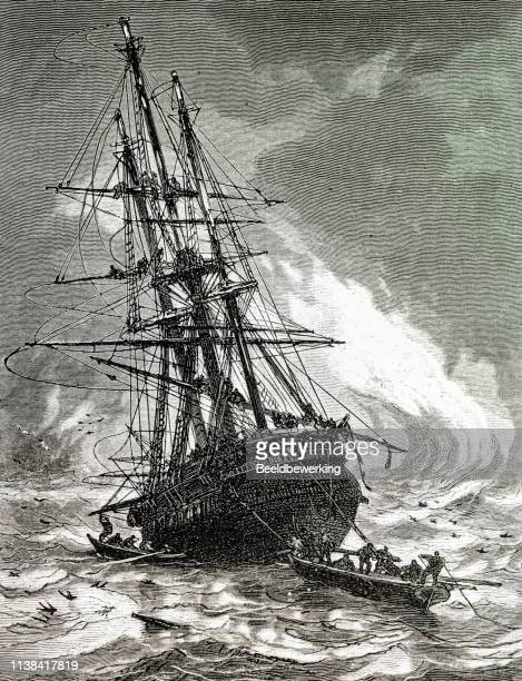 Stranded ship after being caught in a storm