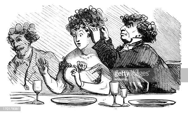 illustrations, cliparts, dessins animés et icônes de strange dossier de la table de salle à manger - coiffeur humour