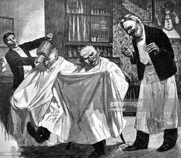 illustrations, cliparts, dessins animés et icônes de méthodes de coupe de cheveux étrange étranges coiffeurs - 1896 - coiffeur humour