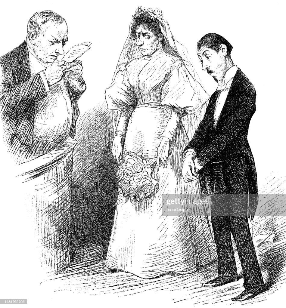 Couple étrange De Mariage Pendant La Cérémonie De Mariage1896 Illustration Getty Images