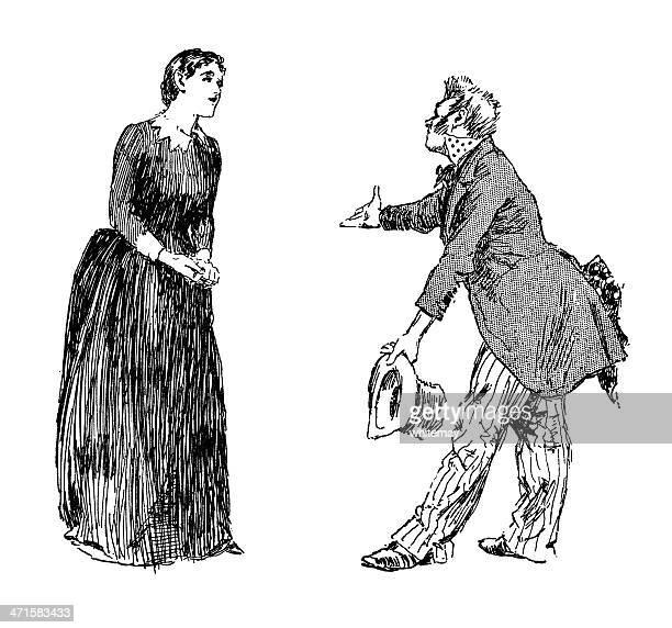 ilustraciones, imágenes clip art, dibujos animados e iconos de stock de extraño hombre vestido con una mujer pidiendo - actor
