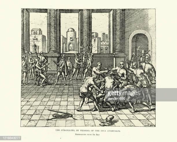 フランシスコ・ピサロによるアタワルパ最後のインカ皇帝の絞殺 - 皇帝点のイラスト素材/クリップアート素材/マンガ素材/アイコン素材