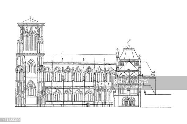 Strasbourg Cathedral, France | Antique Architectural Illustrations