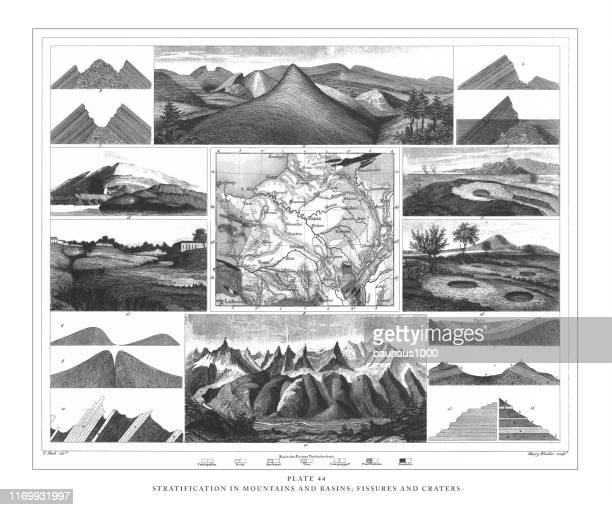 stratification in mountains and basins; fissures and craters engraving antique illustration, published 1851 - mont blanc stock illustrations, clip art, cartoons, & icons