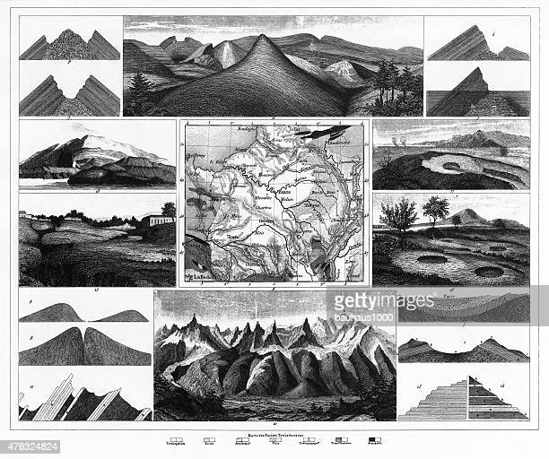 stratification in mountains and basins; fissures and craters engraving - volcanic crater stock illustrations, clip art, cartoons, & icons