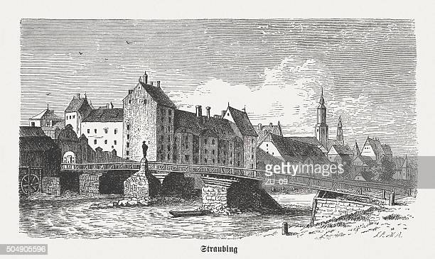 straubing in the 15th century, wood engraving, published in 1873 - straubing stock illustrations