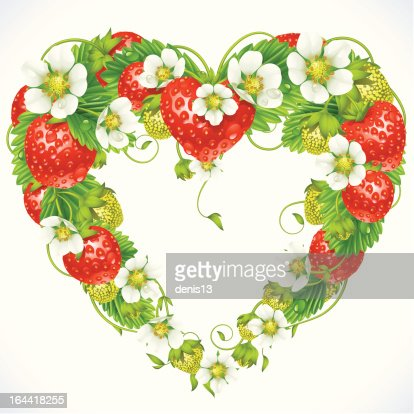 Strawberry Frame In The Shape Of Heart Vector Art | Getty Images