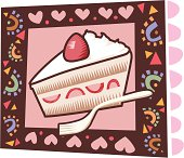Strawberry short cake icon woodcut style