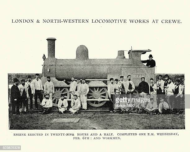 stream train built in, crewe locomotive works, 1892 - industrial revolution stock illustrations