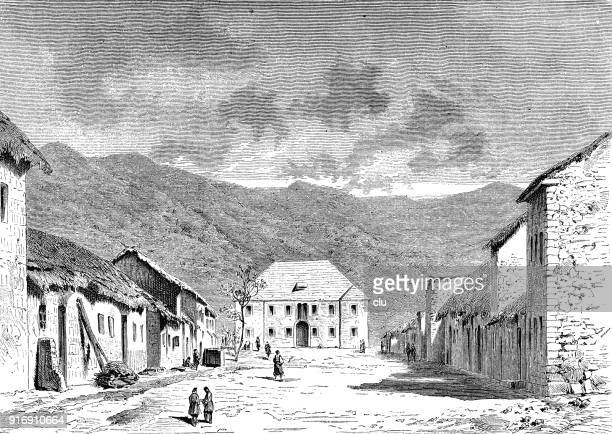 a street and houses in montenegro - 1877 stock illustrations, clip art, cartoons, & icons