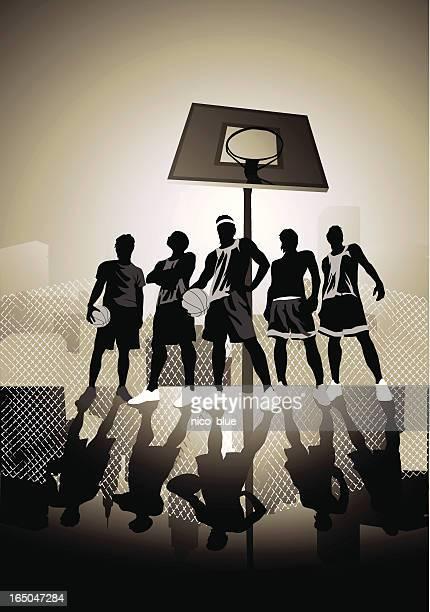 ilustraciones, imágenes clip art, dibujos animados e iconos de stock de calle de bola - cancha de baloncesto
